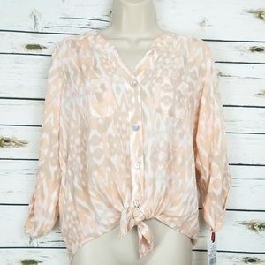 Ruby Rd 8P Peach Gray Tie Front Button Petite
